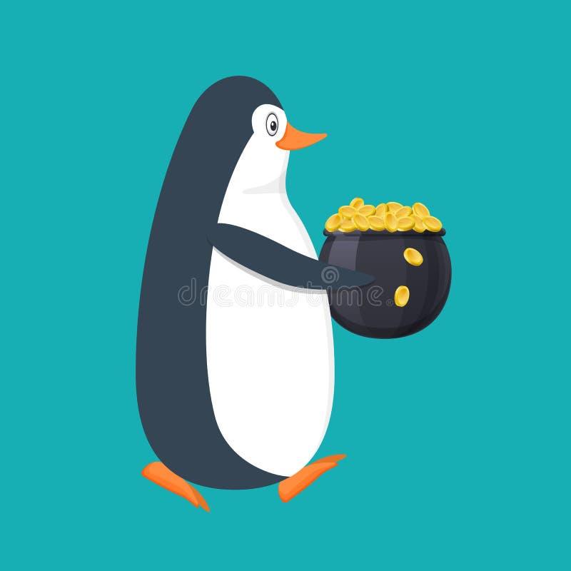 Pingüino divertido, pájaro antártico, con el pote llenado de las monedas de oro stock de ilustración