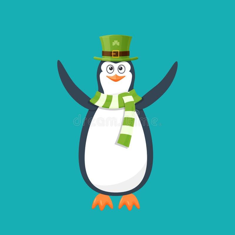Pingüino divertido, pájaro antártico, en sombrero, bufanda Día de fiesta St Patrick libre illustration
