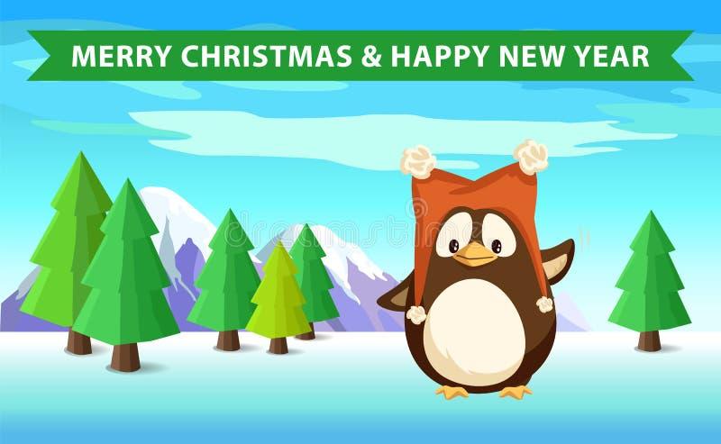 Pingüino en bosque, la Navidad y la Feliz Año Nuevo stock de ilustración