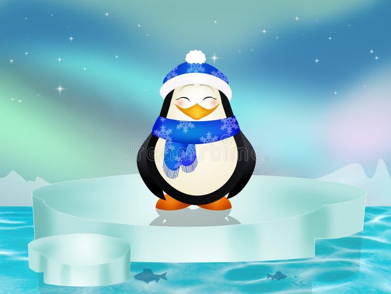 Pingüino en el iceberg stock de ilustración