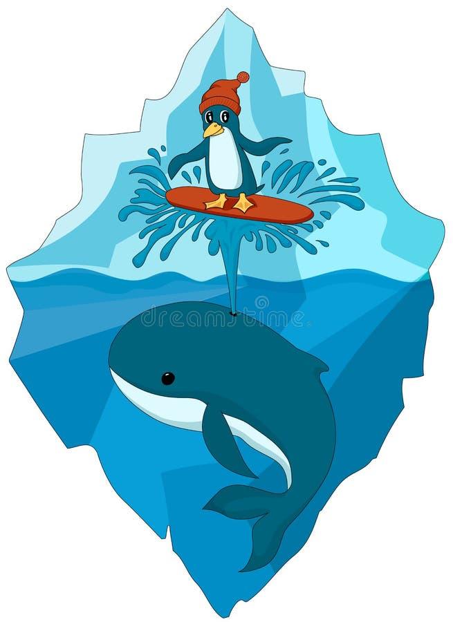 Pingüino en el sombrero que practica surf en el canalón de la ballena en el océano Fondo del iceberg stock de ilustración