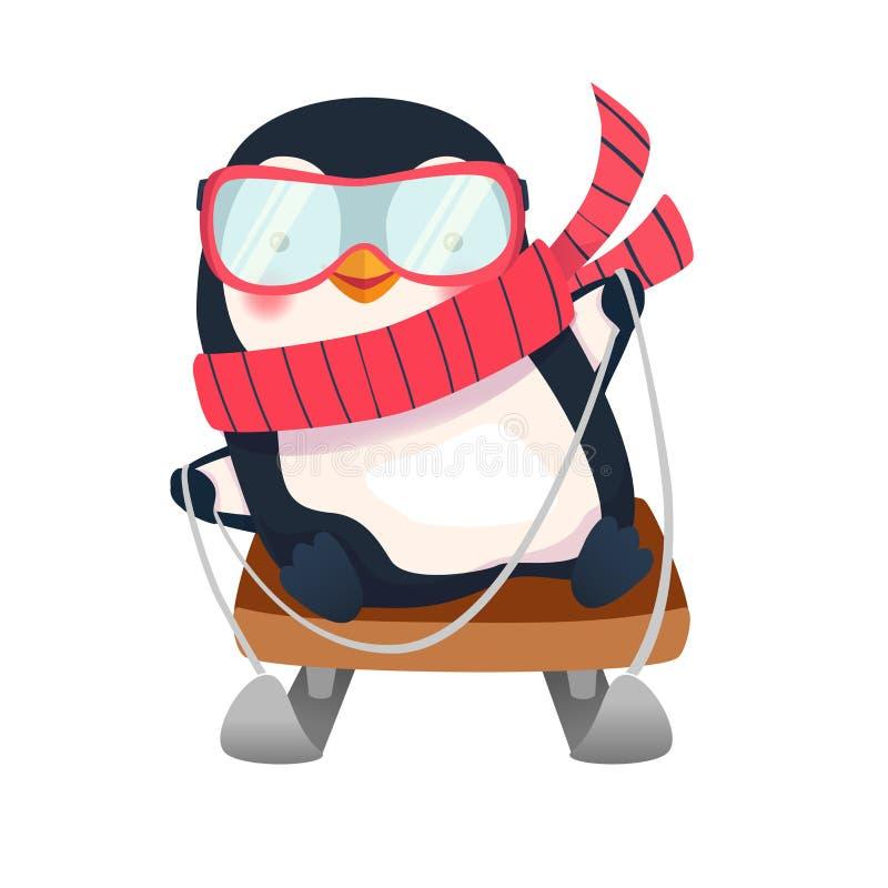 Pingüino en el trineo stock de ilustración