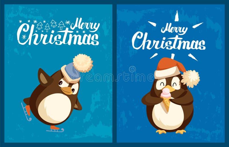 Pingüino en patines y con la tarjeta de felicitación del helado ilustración del vector
