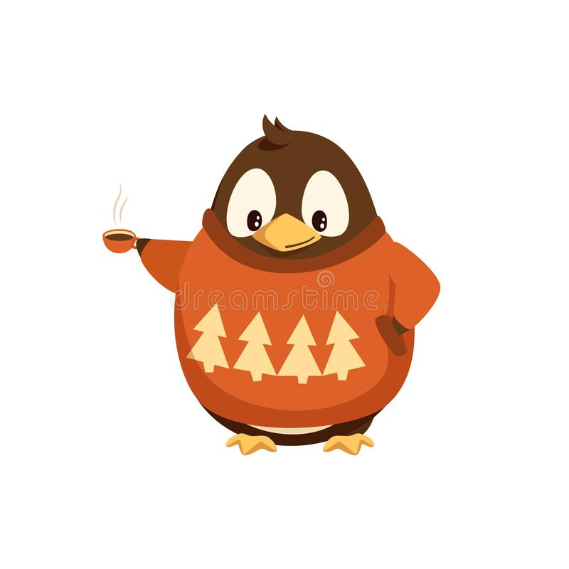 Pingüino en suéter con la taza de café caliente libre illustration