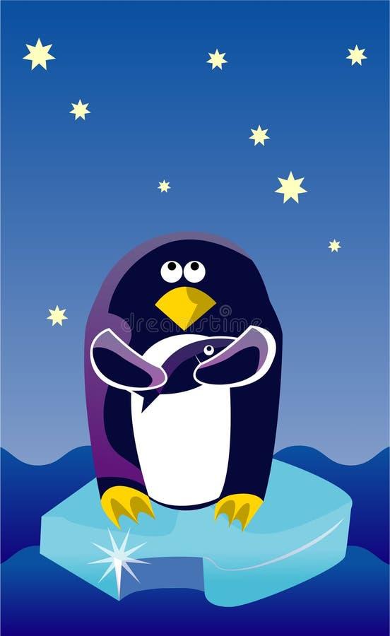 Pingüino en un hielo ilustración del vector