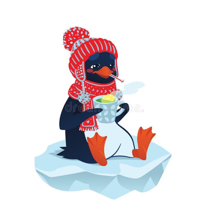 Pingüino enfermo lindo en sombrero y bufanda divertidos ilustración del vector