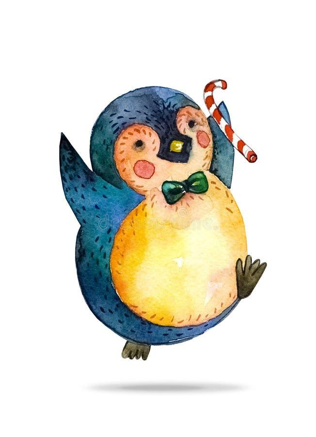Pingüino feliz de la historieta en bastón verde del lazo y de caramelo a disposición Fondo blanco stock de ilustración