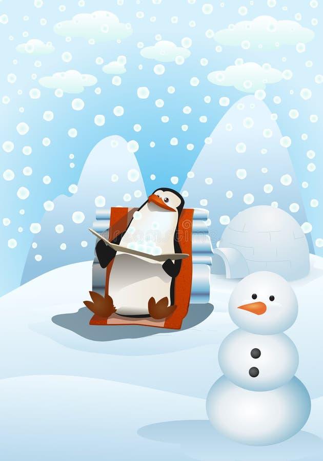 Pingüino feliz del ejemplo en invierno nevoso stock de ilustración