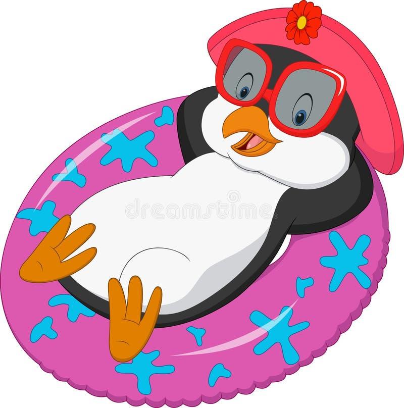 Pingüino femenino de la historieta que se relaja en el anillo inflable ilustración del vector