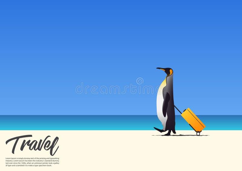 Pingüino hermoso que camina y que sostiene la playa blanca de la arena de la caja de la cabina mientras que el vacaciones de vera ilustración del vector