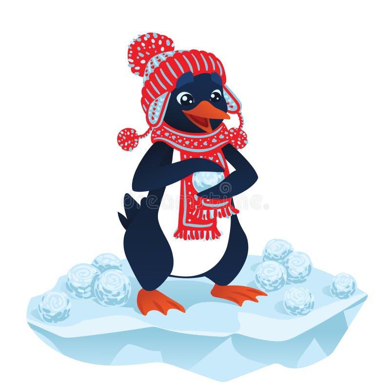 Pingüino lindo de la historieta con las bolas de nieve ilustración del vector