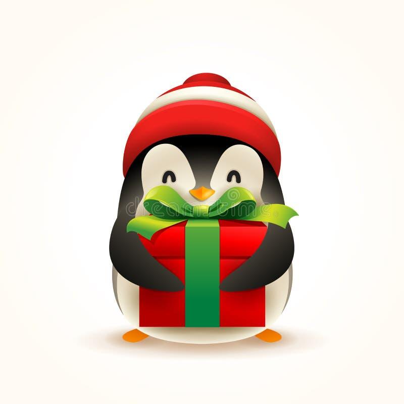 Pingüino lindo de la Navidad pequeño con el presente del casquillo y del regalo de Santa's stock de ilustración