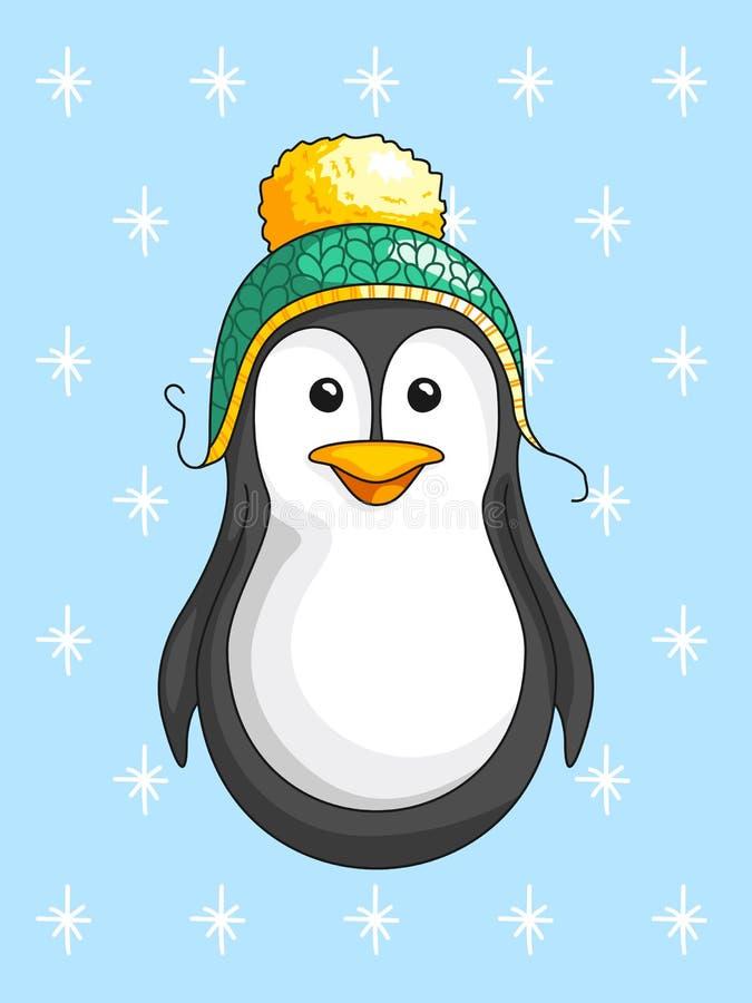 Pingüino lindo que lleva un sombrero verde en el fondo de copos de nieve stock de ilustración