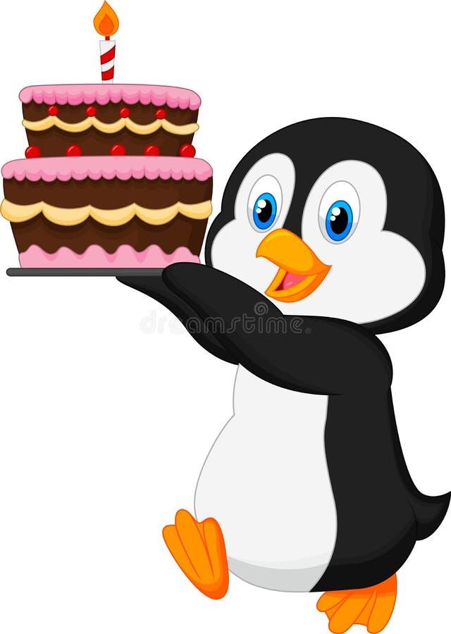 Pingüino lindo que sostiene la torta de cumpleaños ilustración del vector