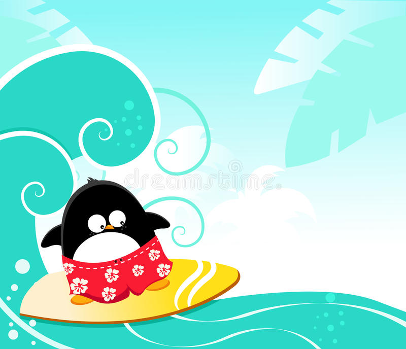 Pingüino que practica surf libre illustration
