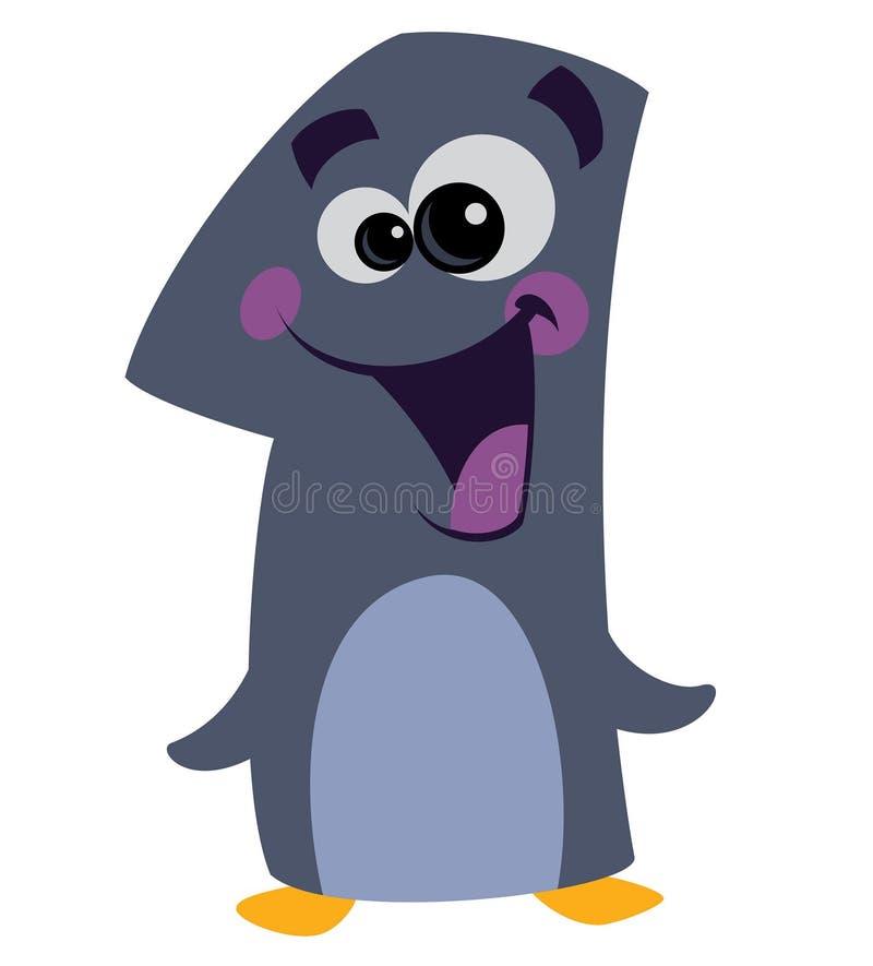 Pingüino sonriente de la cara del número 1 libre illustration