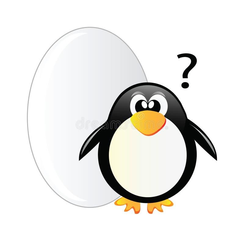 Pingüino y huevo grande stock de ilustración