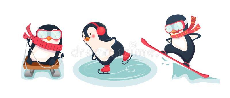 Pingüinos activos en invierno ilustración del vector