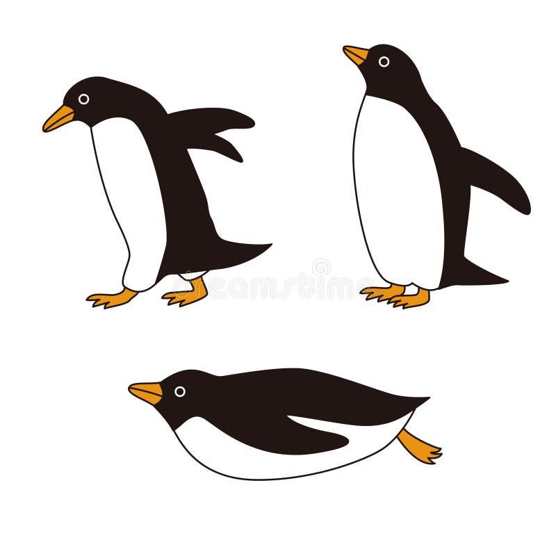 Pingüinos con diversas actitudes stock de ilustración