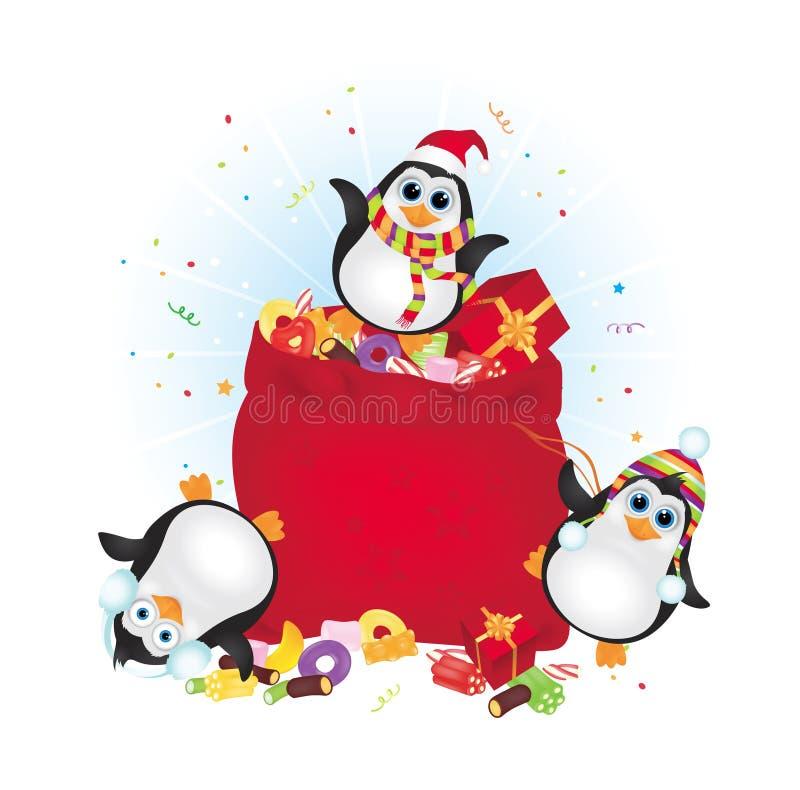 Pingüinos de la feliz Navidad stock de ilustración