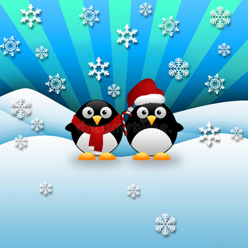 Pingüinos de la Navidad imagen de archivo libre de regalías