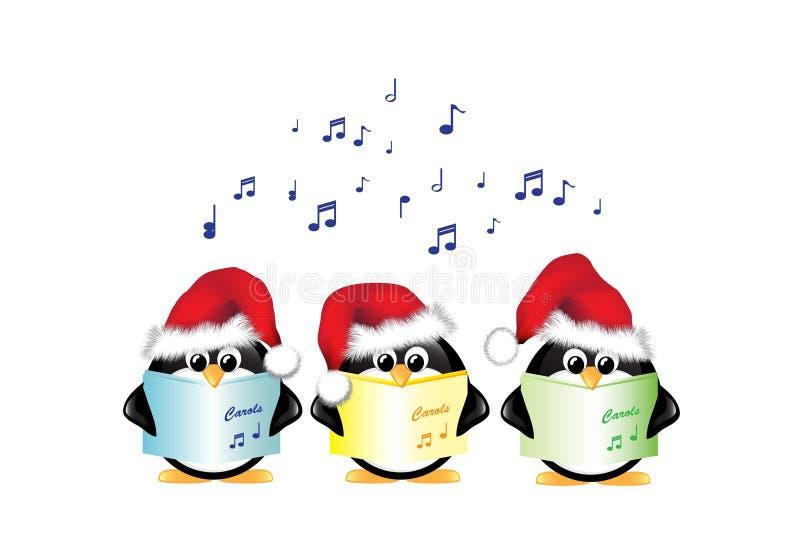Pingüinos del canto del villancico aislados libre illustration