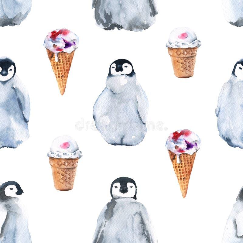Pingüinos del fondo Modelo inconsútil Ilustración de la acuarela libre illustration