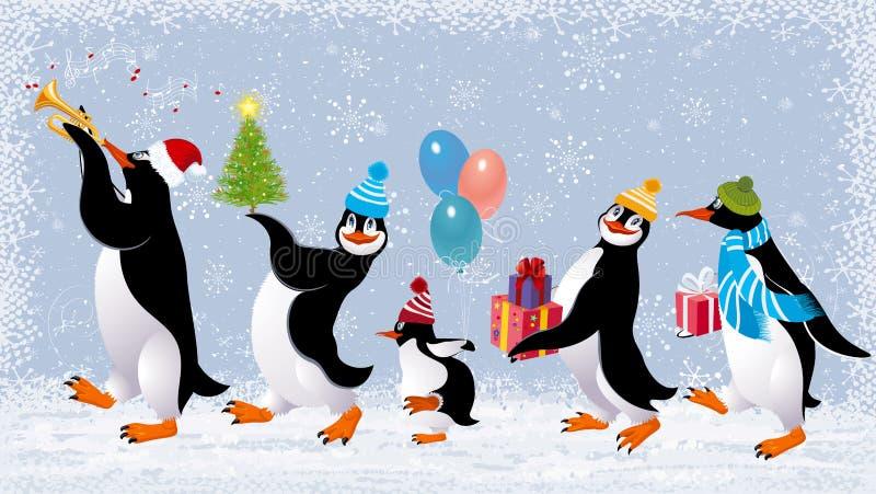 Pingüinos divertidos stock de ilustración