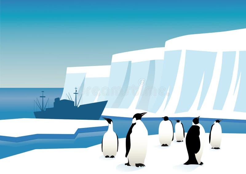 Pingüinos en Ant3artida stock de ilustración