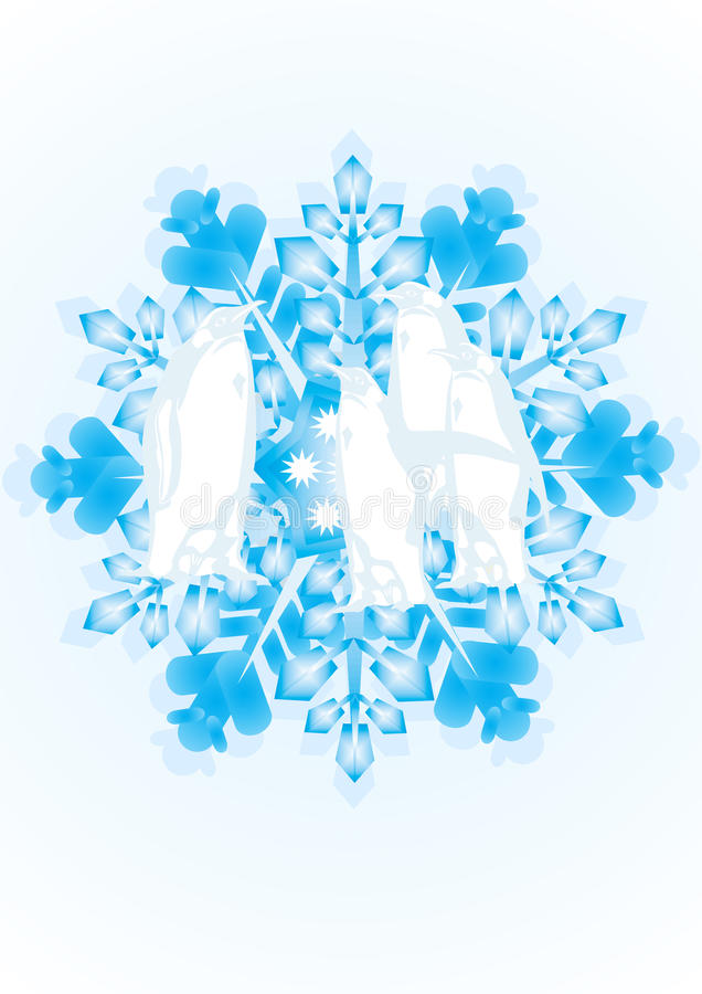 Pingüinos en el copo de nieve stock de ilustración