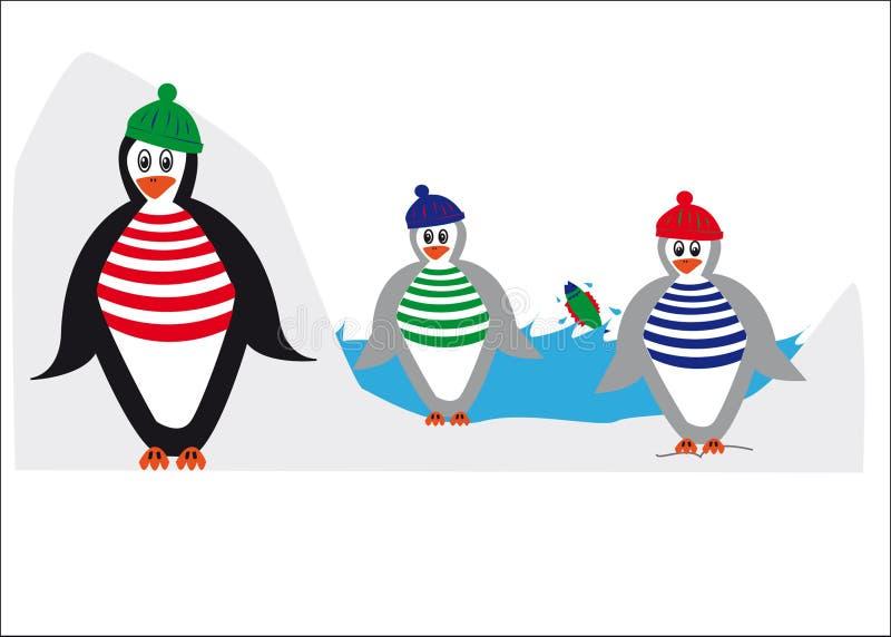 Pingüinos en el hielo stock de ilustración