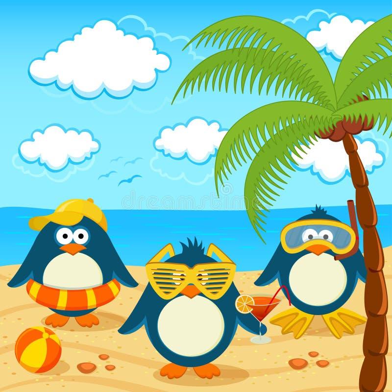 Pingüinos en el vector de la playa stock de ilustración