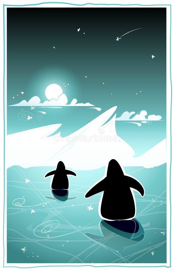 Pingüinos en la noche ártica ilustración del vector