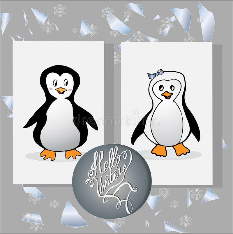 Pingüinos ilustrados Sistema del pingüino animal ilustración del vector