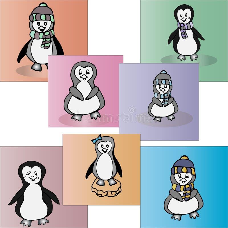 Pingüinos ilustrados Sistema del pingüino animal stock de ilustración