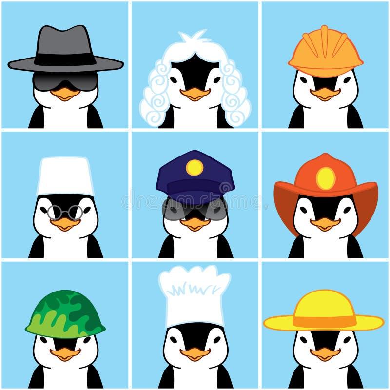 Pingüinos lindos bajo la forma de diversas profesiones stock de ilustración