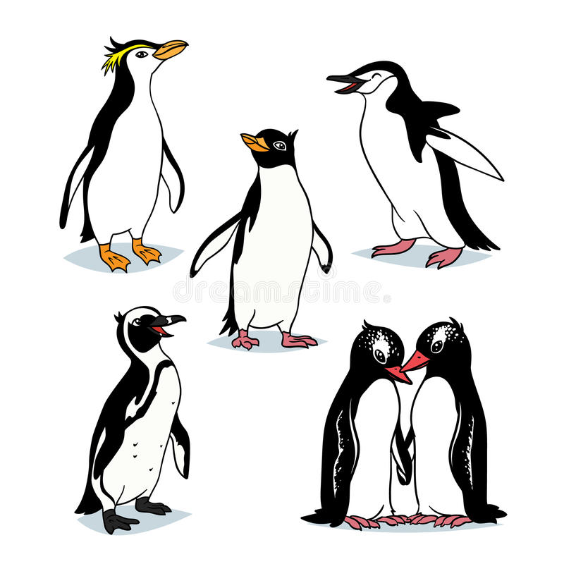Pingüinos lindos de la historieta de diversos tipos libre illustration