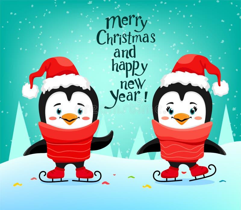 Pingüinos lindos del patinaje de hielo con un sombrero de Papá Noel en un estilo de la historieta Letras manuscritas Ilustraci?n  libre illustration