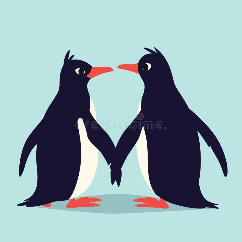 Pingüinos lindos en amor Familia de pájaros que sostienen sus alas y que miran uno a Ejemplo colorido del vector adentro stock de ilustración