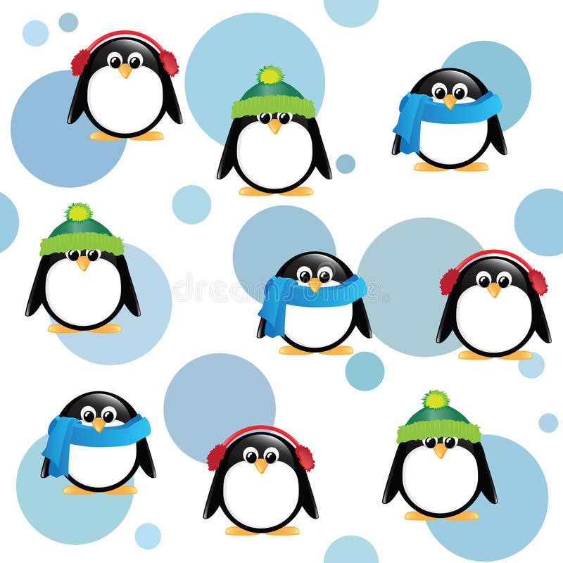 Pingüinos lindos en fondo manchado libre illustration