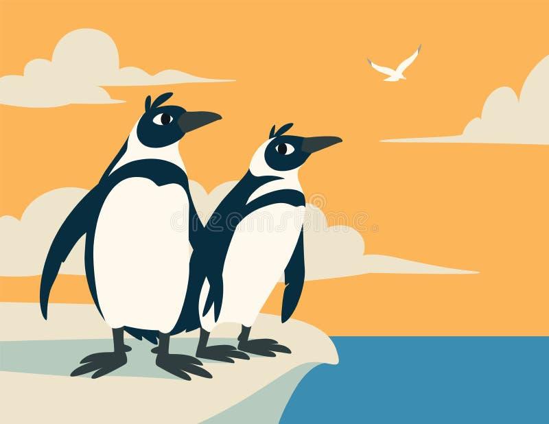 Pingüinos lindos La familia de pájaros árticos mira en la distancia contra el cielo con las nubes y la gaviota Vector colorido ilustración del vector