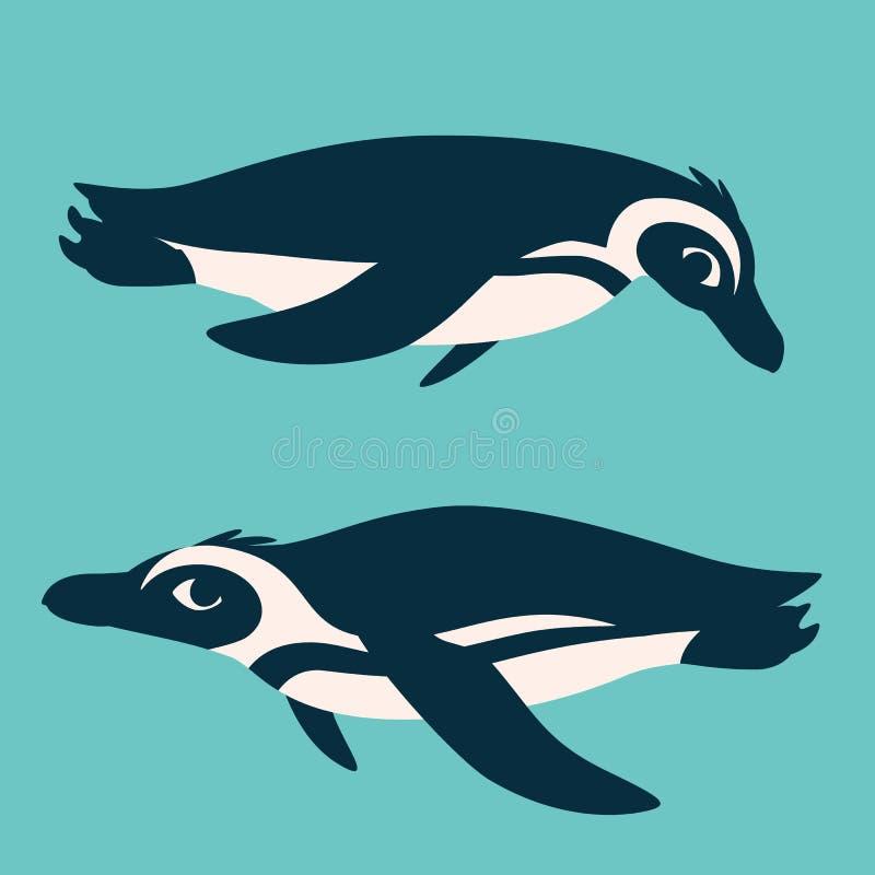 Pingüinos lindos subacuáticos El nadar antártico de los pájaros, mirando el uno al otro Ejemplo del vector de dos pingüinos en pl stock de ilustración