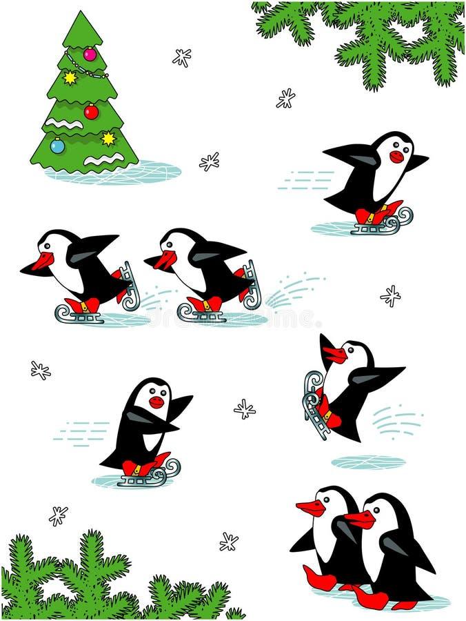 Pingüinos patinadores, personajes de dibujos animados stock de ilustración