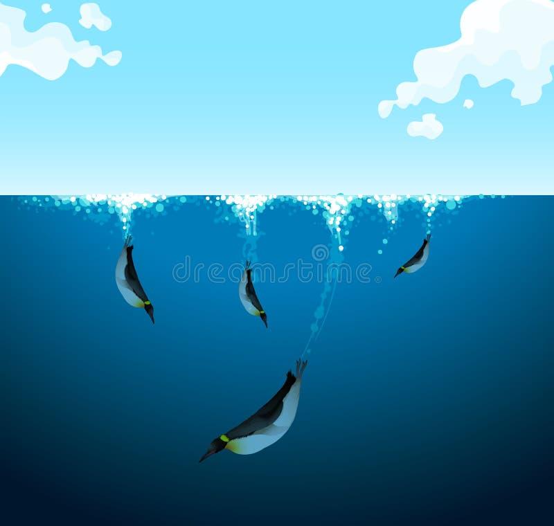 Pingüinos que nadan debajo del océano stock de ilustración