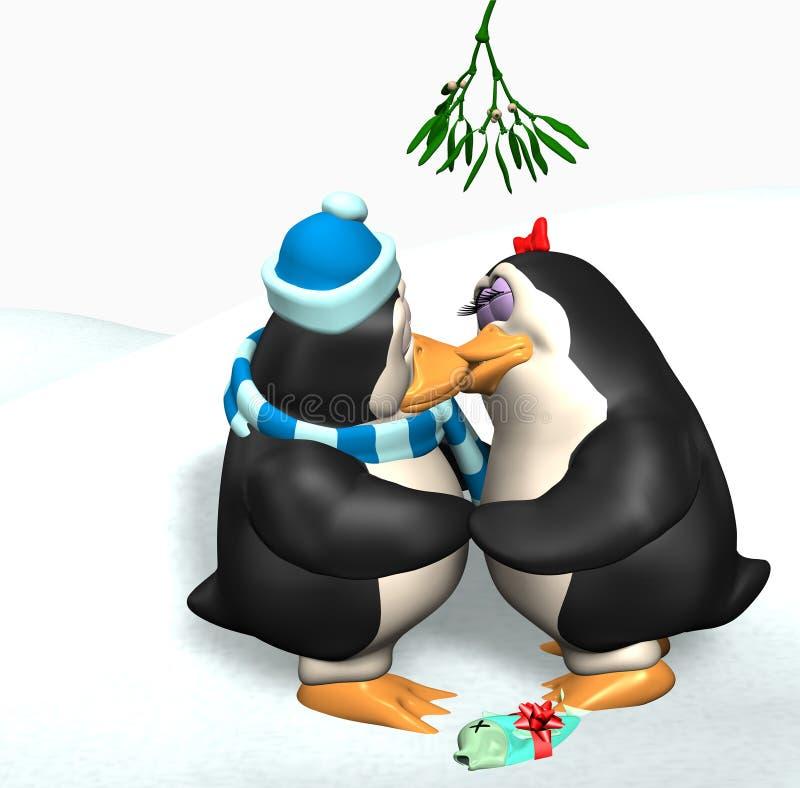 Pingüinos que se besan bajo el muérdago ilustración del vector