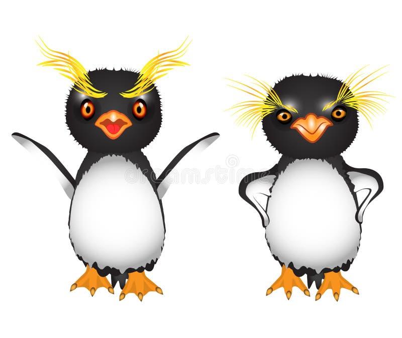 Pingüinos reales de la historieta con las cejas amarillas grandes indignadas y enojadas ilustración del vector
