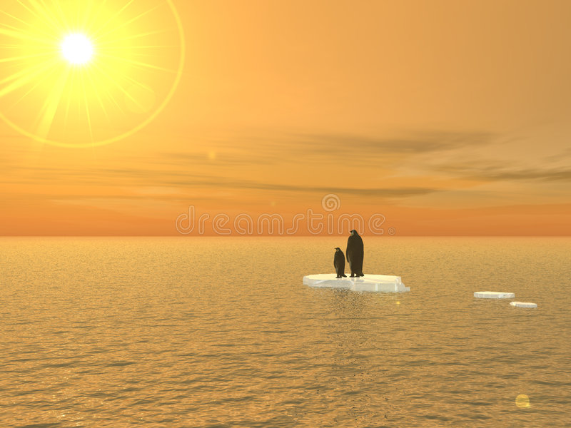 Pingüinos: Una visión 2020 stock de ilustración