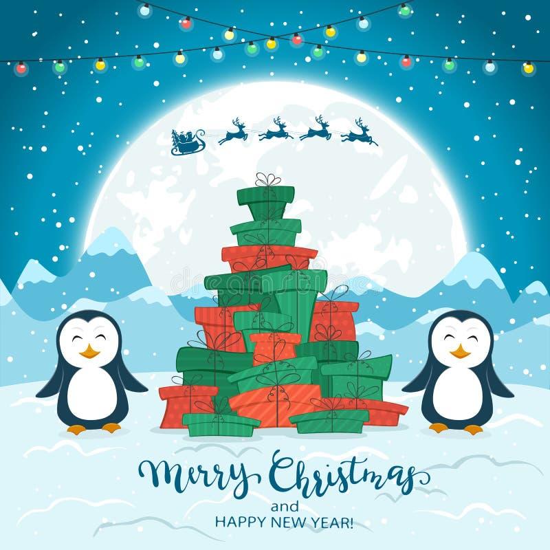 Pingüinos y árbol de navidad de los regalos en fondo azul stock de ilustración
