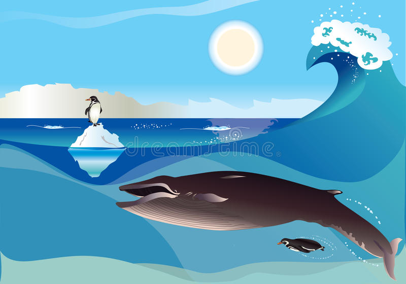Pingüinos y ballena ilustración del vector
