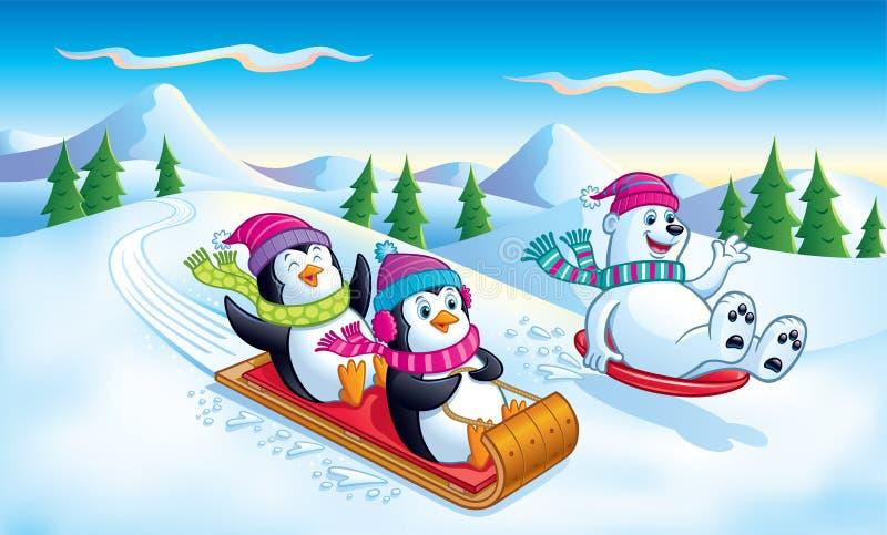 Pingüinos y el Sledding del oso polar ilustración del vector